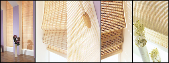 A montage of our Wood Weave Blinds